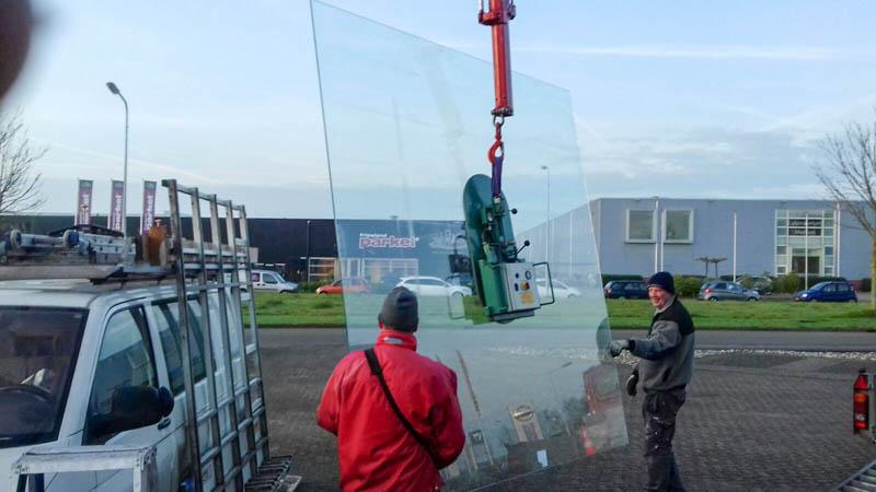 Grote glazen glasplaat